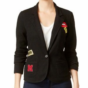 Freshman 1996 knit blazer with patches and splatte